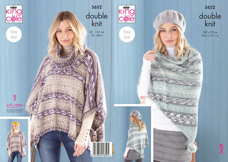 King Cole 5652 Poncho and Shawl Double Knit Pattern