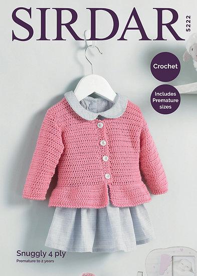 Sirdar 5222 Babies Crochet Peplum Jacket 4 Ply Pattern