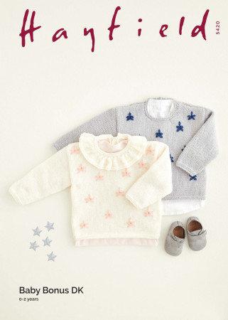 Hayfield 5420 Babies Starry Sweaters Double Knitting Pattern