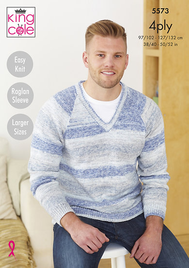 King Cole 5573 Mens V and Round Neck Sweater 4 Ply Knitting Pattern