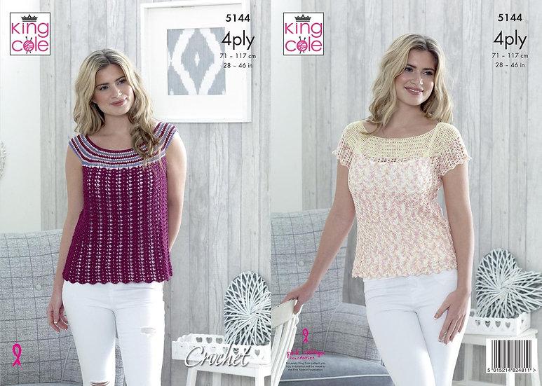 King Cole 5144 Crochet Top 4 Ply Pattern