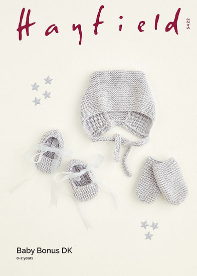 Hayfield 5422 Babies Easy Knit Bonnet, Mittens and Shoes Set Double Knit Pattern