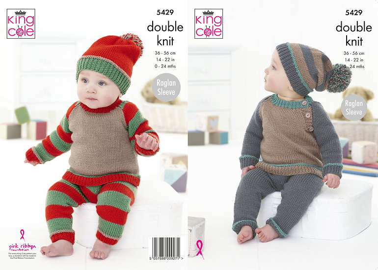 King Cole 5429 Babies Sweater, Leggings and Hat Set Double Knitting Pattern