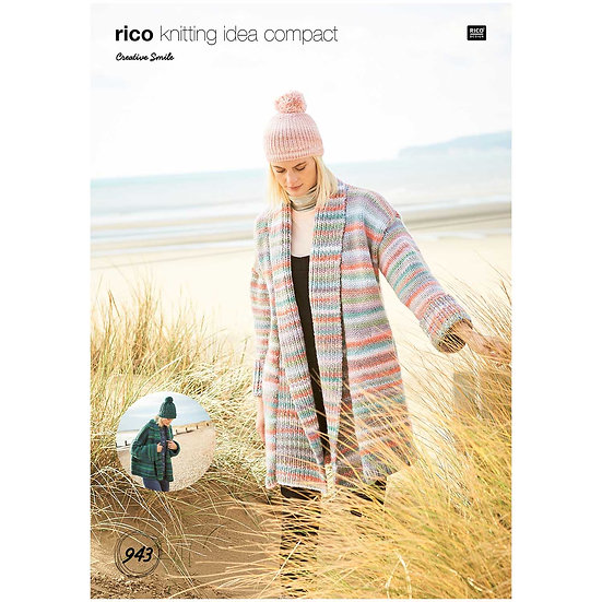 Rico 943 Super Chunky Relaxed Fit Long and Short Jacket Knitting Pattern