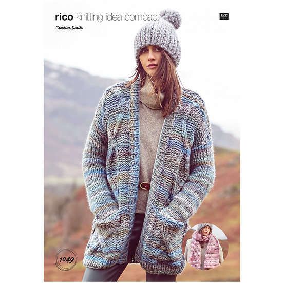 Rico 1049 Super Chunky Cabled Cardigan and Scarf Knitting Pattern
