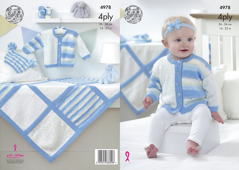King Cole 4978 Babies 4 Ply Cardigan, Hat, Booties & Blanket Knitting Pattern
