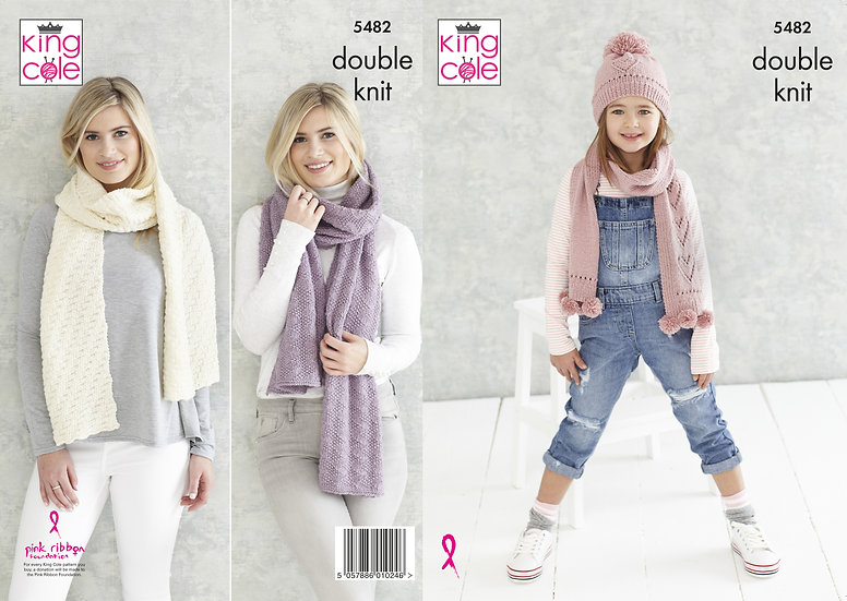 King Cole 5482 Textured Scarf, Heart Hat and Scarf Set Double Knitting Pattern