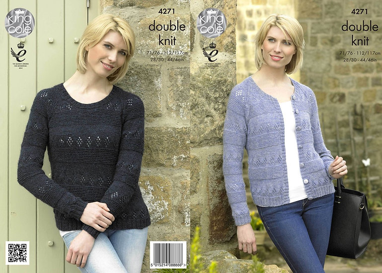 King Cole 4271 Ladies Textured Cardigan and Sweater Double Knitting Pattern