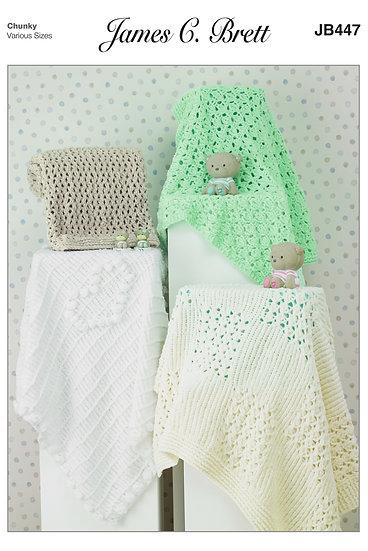 James C. Brett JB447 Babies Chunky Pram and Cot Blankets Knitting Pattern