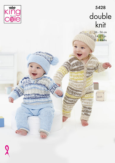 King Cole 5428 Babies All-in-One Set Double Knitting Pattern