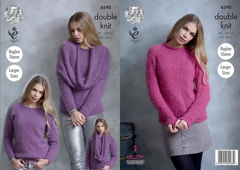 King Cole 4590 Sweater and Snood Ladies Double Knit Pattern