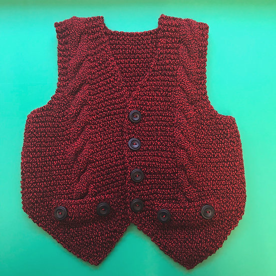 2 - 3 Years Red Tweed Cabled Waistcoat