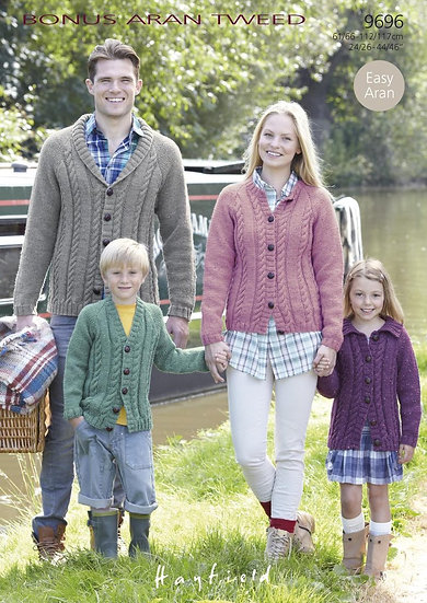 Hayfield 9696 Family Aran Cardigans Knitting Pattern