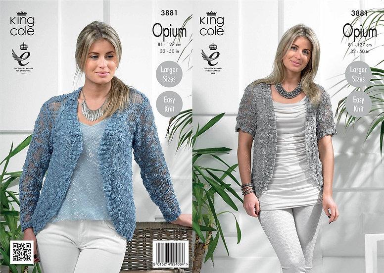 King Cole 3881 Opium Easy Knit Ladies Open Cardigan Knitting Pattern