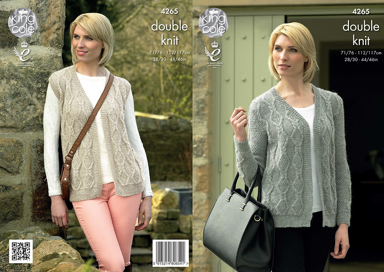 King Cole 4265 Ladies Cabled Cardigan and Waistcoat Double Knitting Pattern