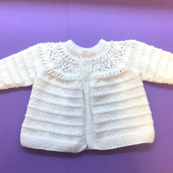 0 - 5 months White Baby Matinee Coat