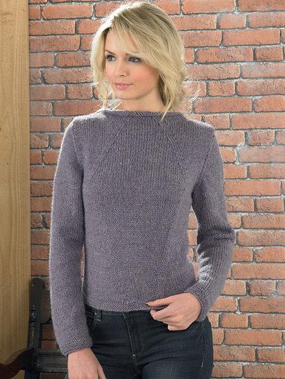 James C. Brett JB224 Ladies Stylish Boat Neck Sweater Aran Knitting Pattern