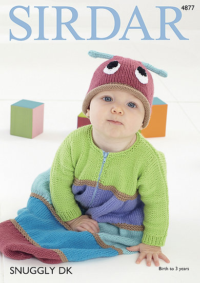 Sirdar 4877 Babies Caterpillar Sleeping Bag and Hat Double Knitting Pattern