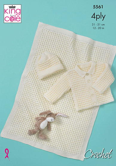 King Cole 5561 Babies Crochet Jacket, Hat and Blanket Set 4 Ply Pattern