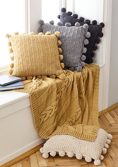 King Cole 5661 Basketweave Cushion Covers and Cabled Throw Aran Pattern
