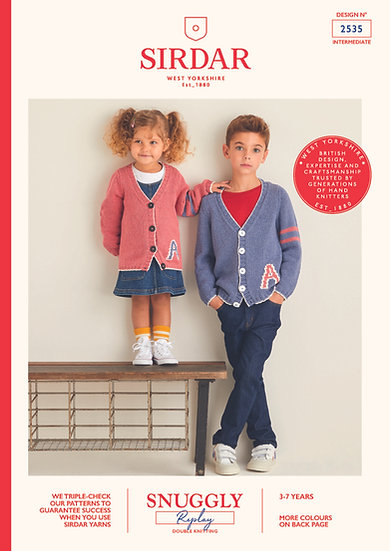 Sirdar 2535 Childrens Varsity Lettermans Cardigan Double Knit Pattern