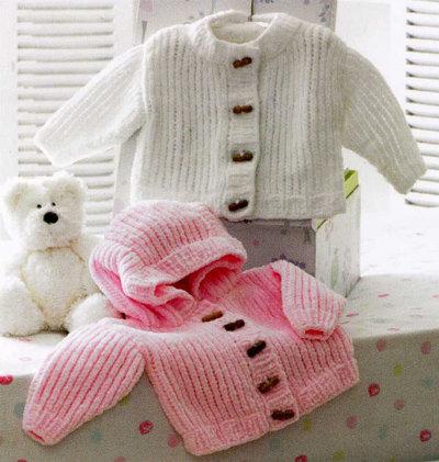 James C. Brett JB172 Babies Chunky Cardigan and Hooded Jacket Knitting Pattern
