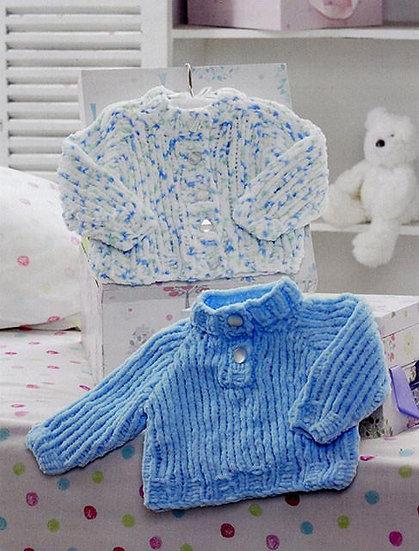 James C. Brett JB201 Babies Chunky Cardigan & High Neck Sweater Knitting Pattern