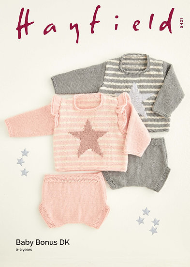Hayfield 5421 Babies Stars & Stripes Sweater and Pants Double Knitting Pattern