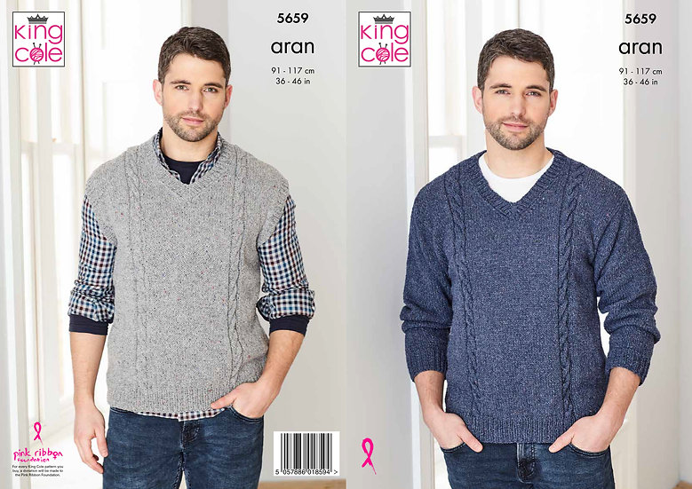 King Cole 5659 V-Neck Cabled Jumper and Tank Top Aran Pattern
