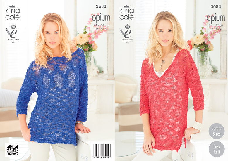 King Cole 3683 Opium V Neck & Boat Neck Sweaters Knitting Pattern