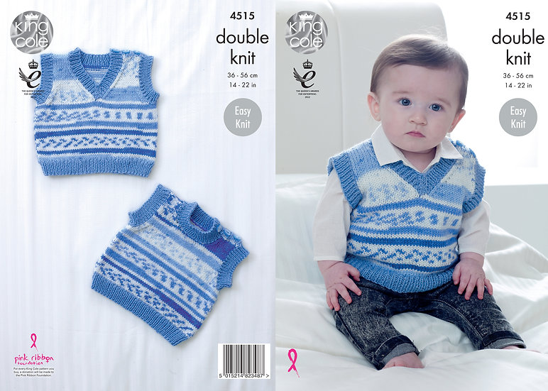 King Cole 4515 Babies Slipovers Tank Top Double Knitting Pattern