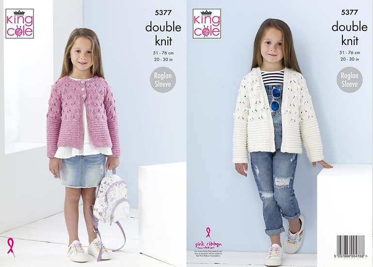 King Cole 5377 Childrens Raglan Sleeved Cardigan Pattern Double Knit