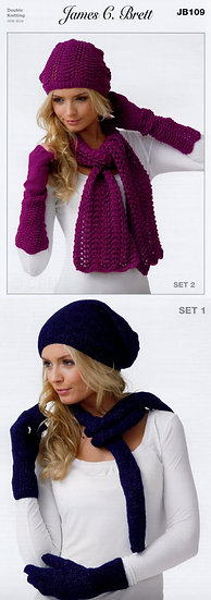 James C. Brett JB109 Hats, Scarves and Gloves Double Knit Pattern