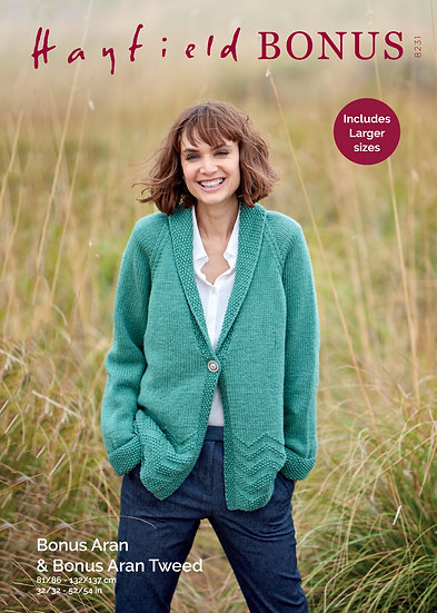Hayfield 8231 Zig Zag Shawl Collar Jacket Aran Knitting Pattern