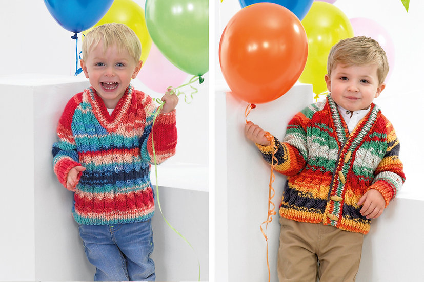 James C. Brett JB381 Children's Chunky Cable V Neck Cardigan & Sweater Pattern
