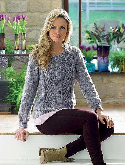 James C. Brett Ladies Celtic Cable Cardigan Double Knitting Pattern