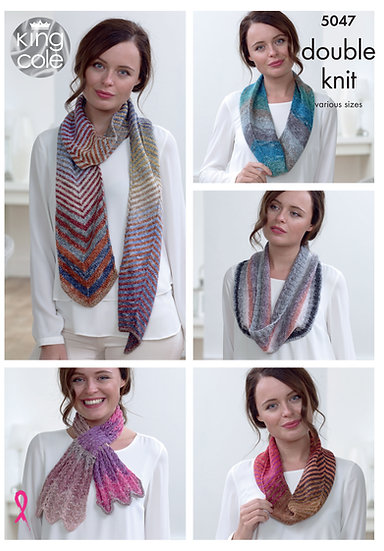 King Cole 5047 Chevron Scarf, Cowls and Scarflette Double Knit Pattern