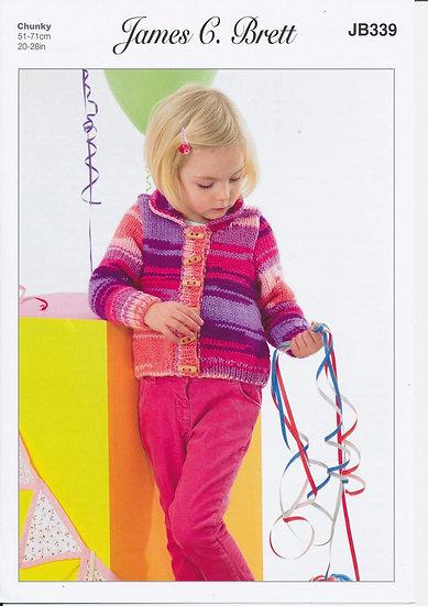 James C. Brett JB339 Children's Chunky Shawl Collar Cardigan Knitting Pattern