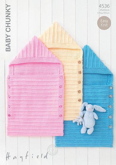 Hayfield 4536 Babies Chunky Easy Knit Sleeping Bag Knitting Pattern