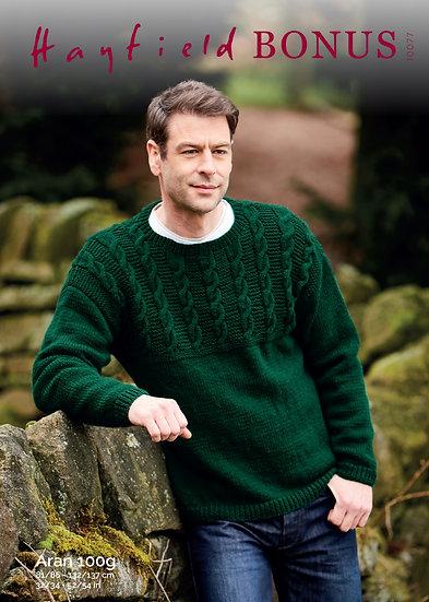 Hayfield 10077 Cabled Yoke Sweater Aran Knitting Pattern