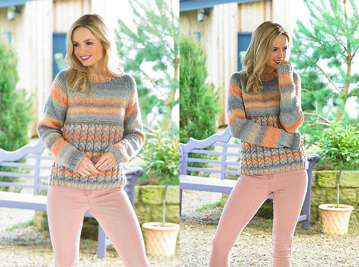James C. Brett JB435 Cable Detail Chunky Sweater Knitting Pattern
