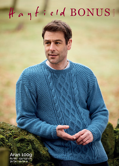 Hayfield 10078 Cable Sweater Aran Knitting Pattern