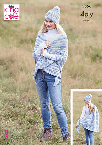 King Cole 5556 Shawls and Hats 4 Ply Knitting Pattern
