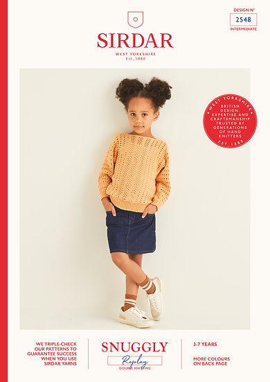 Sirdar 2548 Childrens Lace Mesh Pullover Double Knitting Pattern