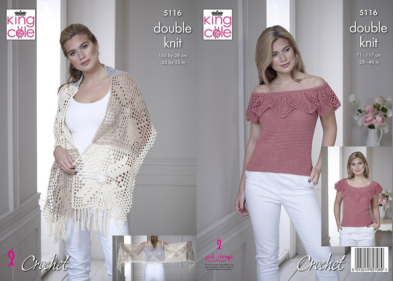 King Cole 5116 Crochet Top and Shawl Double Knit Pattern