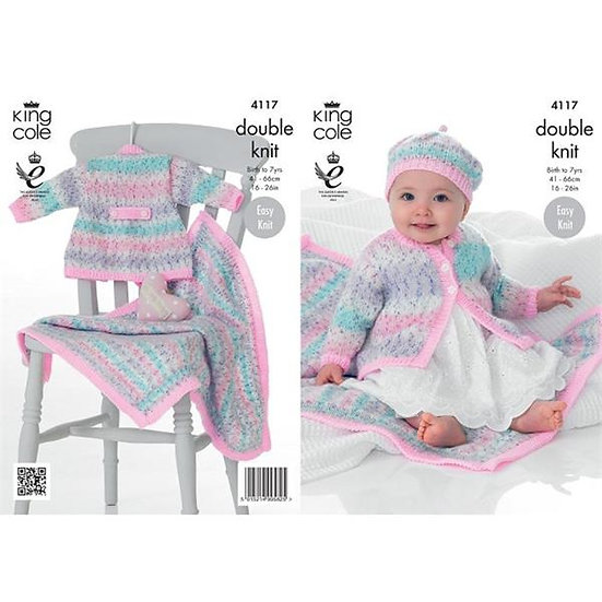 King Cole 4117 Babies and Childrens Coat, Beret and Blanket Double Knit Pattern