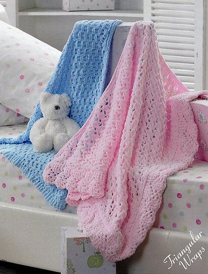 James C. Brett JB202 Babies Chunky Triangular Wraps Blankets Knitting Pattern