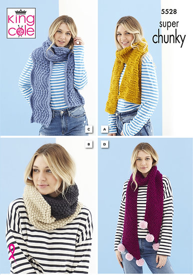 King Cole 5528 Super Chunky Scarf and Snood Knitting Pattern