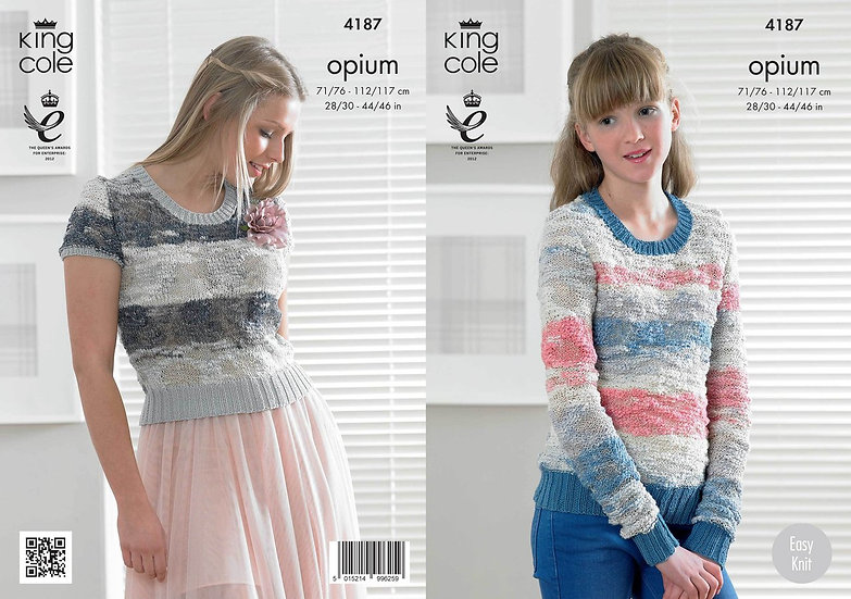 King Cole 4187 Opium Ladies and Teens Sweater and Pullover Knitting Pattern