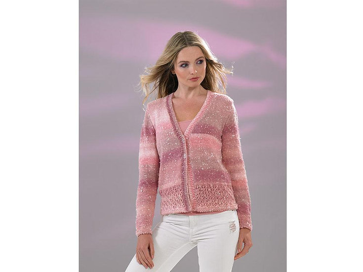 James C. Brett JB513 Lace Panel Double Knit Cardigan